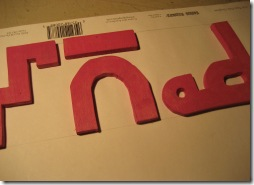 Letters glued to paper