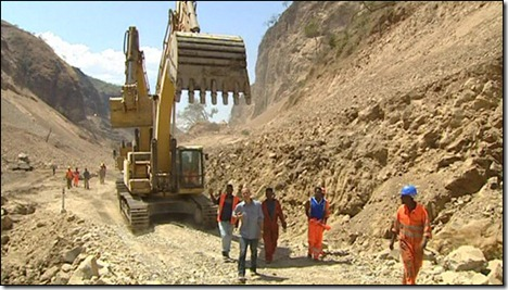 Omo River dam construction (BBC video)