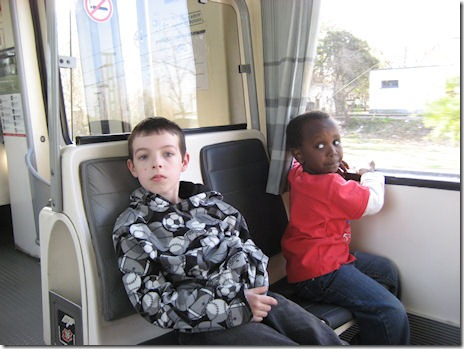 "Buenos Aires, Argentina: Dylan & Feromsa riding the train ""De la Costa"""