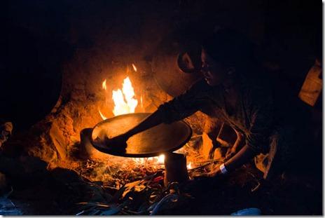 Cooking injera at Aterow