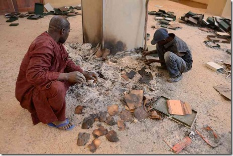 Burned manuscripts in Mali