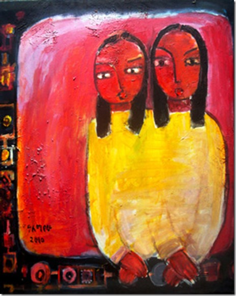 """Childhood 5"" Painting by Alemayehu Wariyo"