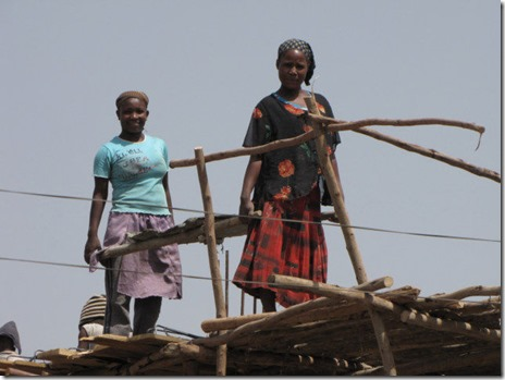 Ethiopian women working in construction